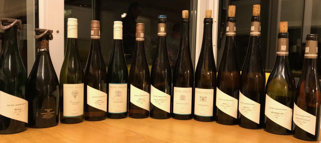 Photo des bouteilles de la dégustation vin allemands